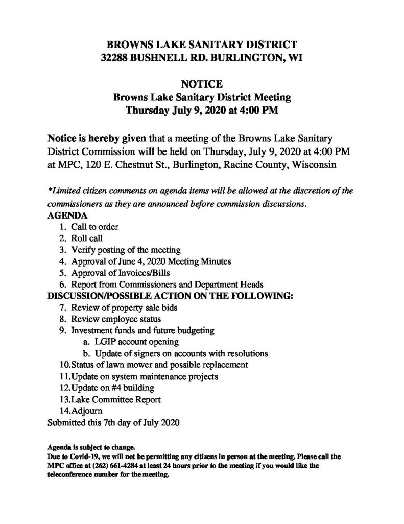 BROWNS LAKE SANITARY DISTRICT_July 9
